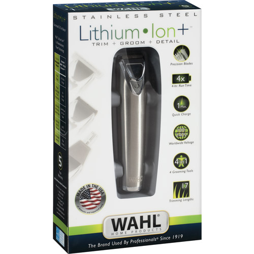 WAHL Home Products Stainless Steel Lithium Ion Rechargeable Trimmer, Model 9818
