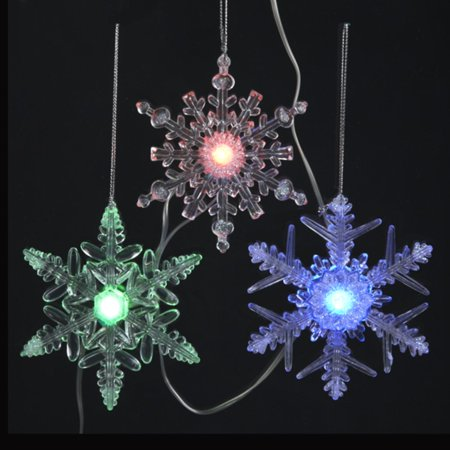 set of 8 led musical color changing battery operated snowflake christmas lights