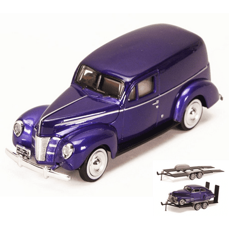 Diecast Car & Trailer Package - 1940 Ford Sedan Delivery, Purple - Motormax 73250P - 1/24 Scale Diecast Model Car w/Trailer -  ModelToyCars