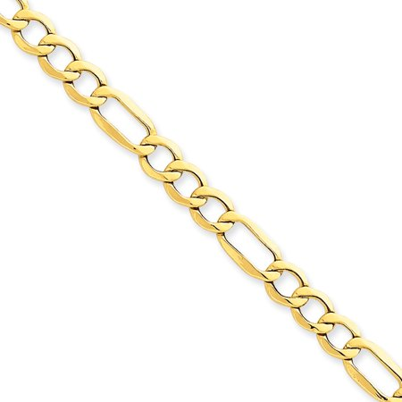 14k Yellow Gold 6.6mm Semi-solid Figaro Chain Bracelet - Length: 7 to 8
