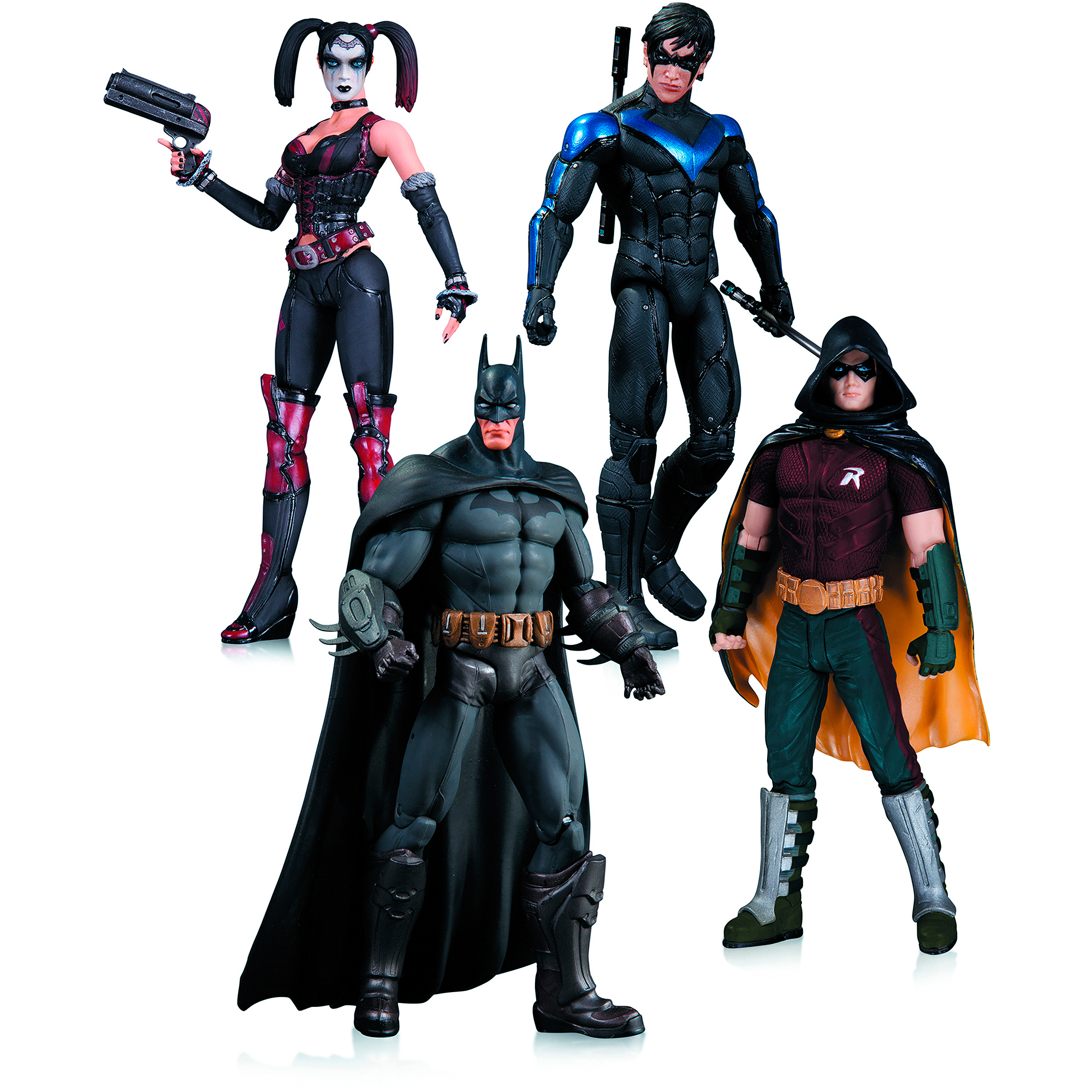 DC Comics Arkham City Action Figure Box Set, Harley Quinn, Batman, Nightwing and Robin