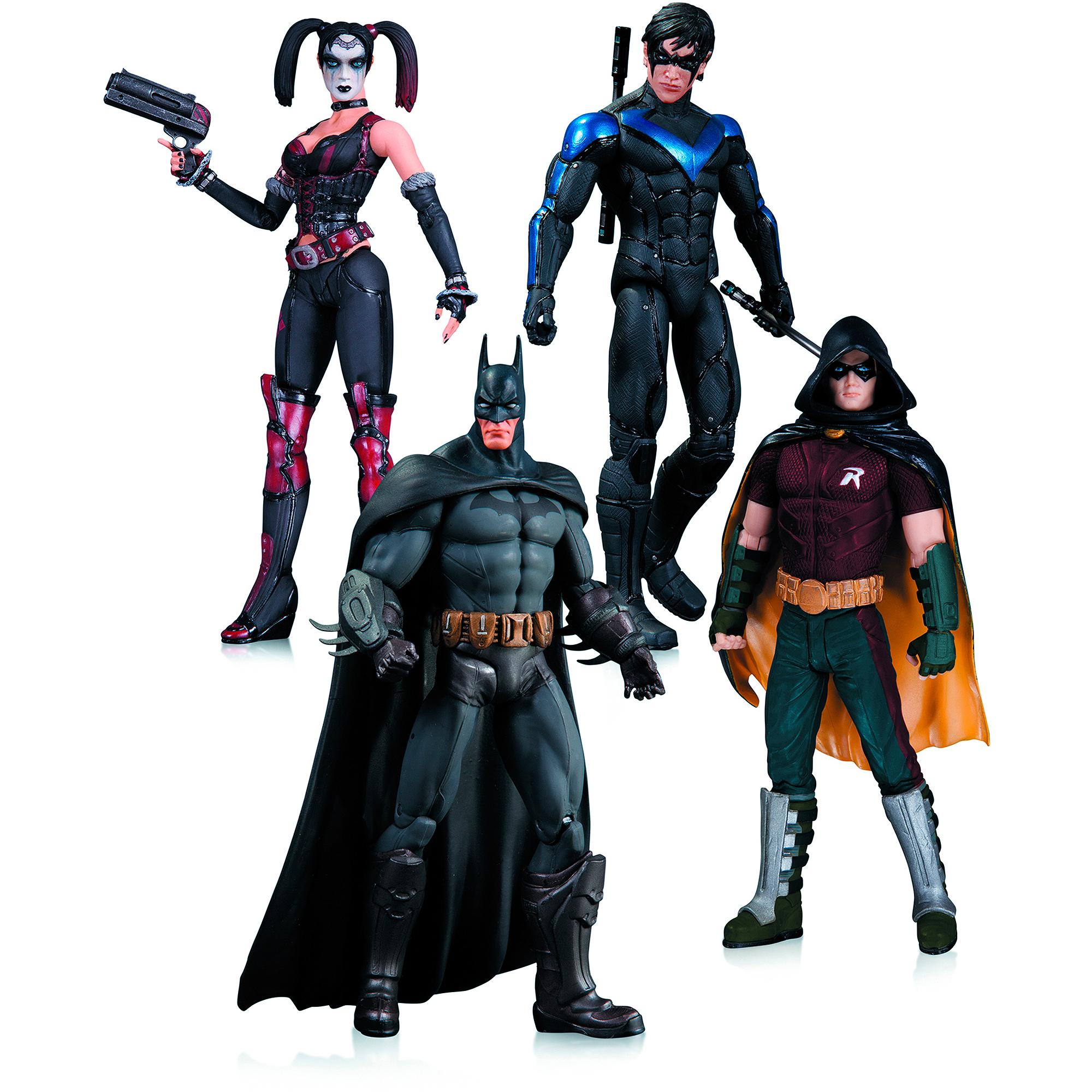 DC Comics Arkham City Action Figure Box Set, Harley Quinn, Batman, Nightwing and Robin