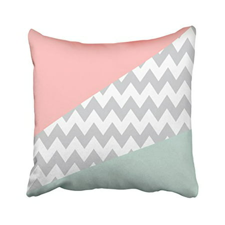 WinHome Decorative Personalized Mint pink white gray Chevron Striped Pattern Decorative Thick Pillow Cushion Cover Pillowcase with Invisible Zipper Size 18x18 inches Two Side (Mint Chevron)