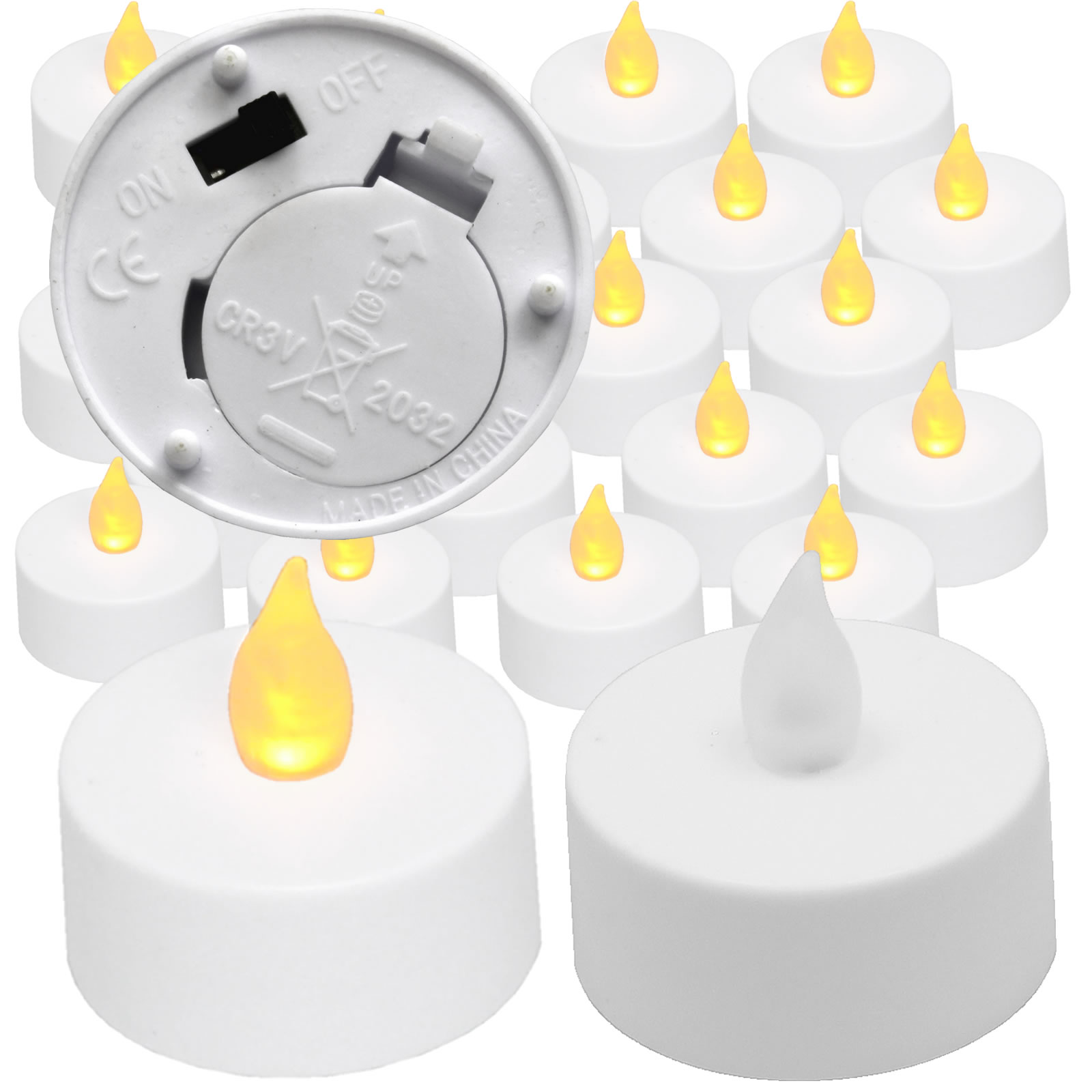 Flickering Tea Lights Amber  20 pieces