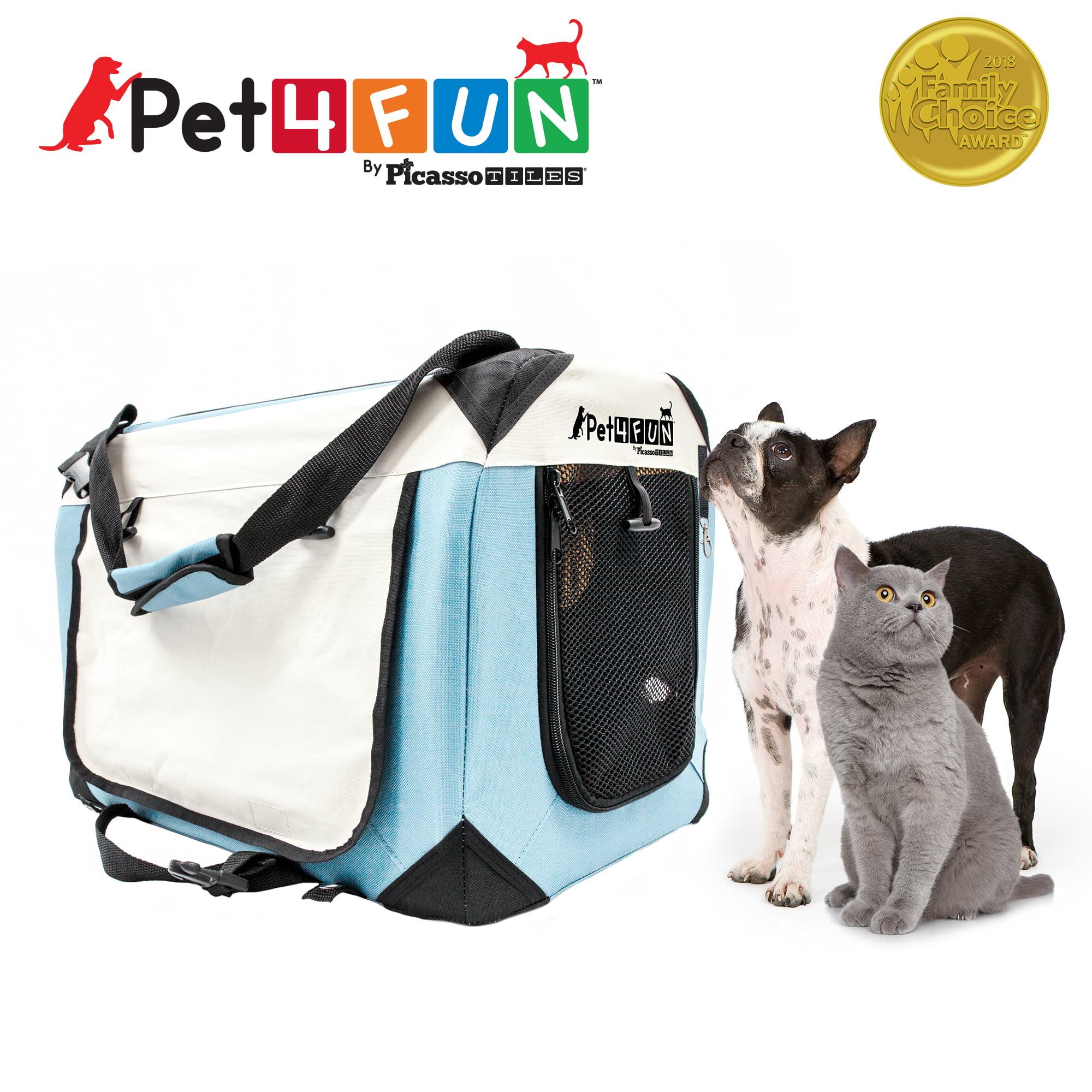 Pet4Fun PN951 Foldable Travel Crate Pet Carrier for Cat or Dog (Medium) BLUE