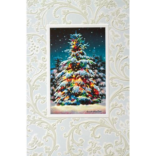Pack of 16 Decorated Evergreen Fine Art Embossed Deluxe Christmas Greeting Cards