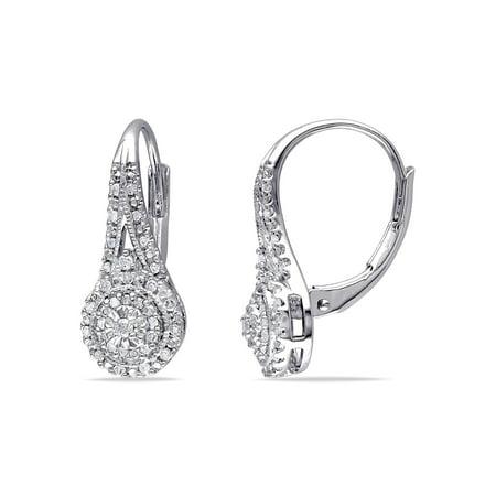 1/4 Carat T.W. Diamond Sterling Silver Double Halo Earrings