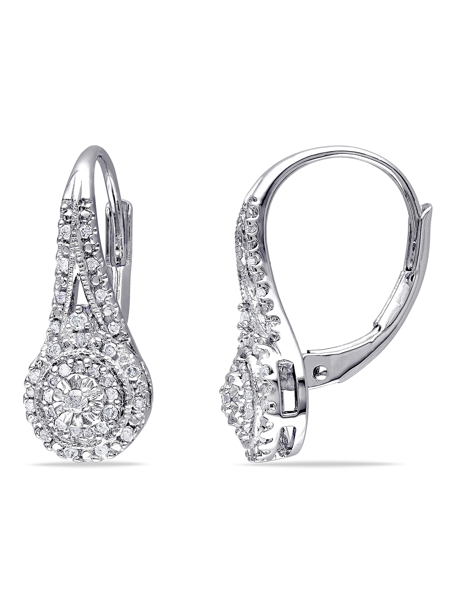 1/4 Carat T.W. Diamond Sterling Silver Double Halo Earrings