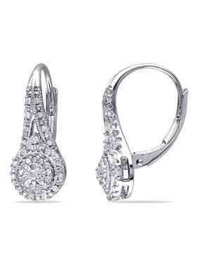 Miabella 1 4 Carat T W Diamond Sterling Silver Double Halo Earrings