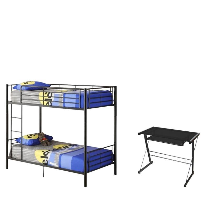 2 Piece Kids Bedroom Set with Bunk Bed and Desk in Black ...