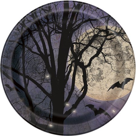 Spooky Night Halloween Paper Party Plates, 8ct, 8 spooky night Halloween paper party plates By Unique Industries from - Spooky Halloween Party Snacks