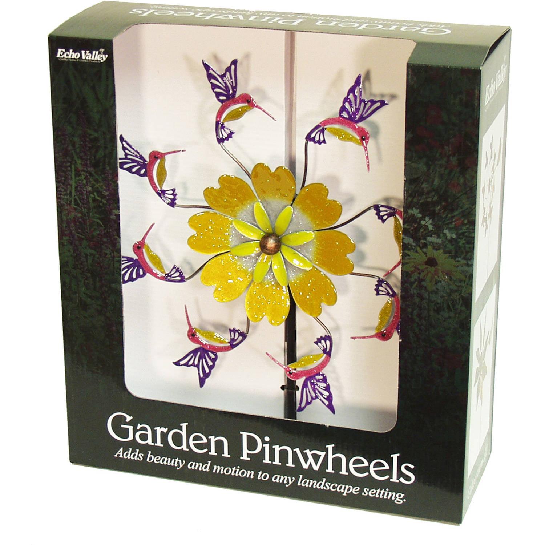 "Echo Valley 4312T 10.38"" Copper Hummingbird Flower Pinwheel"