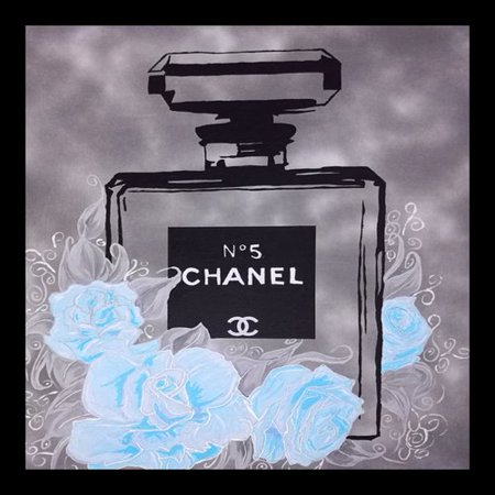 Buy Art For Less Poster Fancy Perfume Floral Flowers Chanel Fleurs I Baby Blue Framed Graphic Art Print