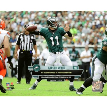 Carson Wentz First Career Touchdown Pass- September 11 2016 with Overlay Horizontal Photo Print](Halloween Photo Overlay)