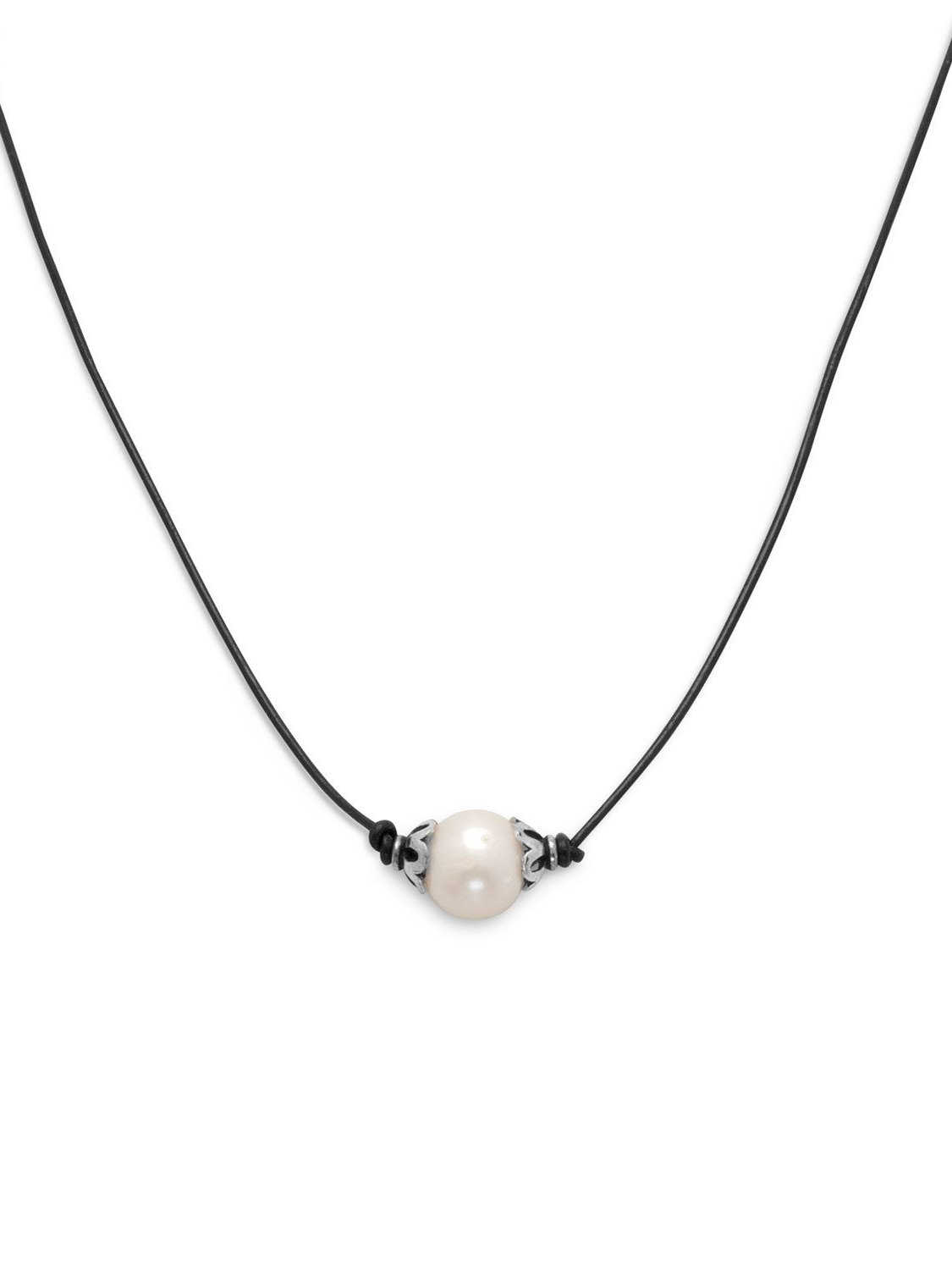 BLACK LEATHER CORD NECKLACE WITH FOOTBALL CHARM