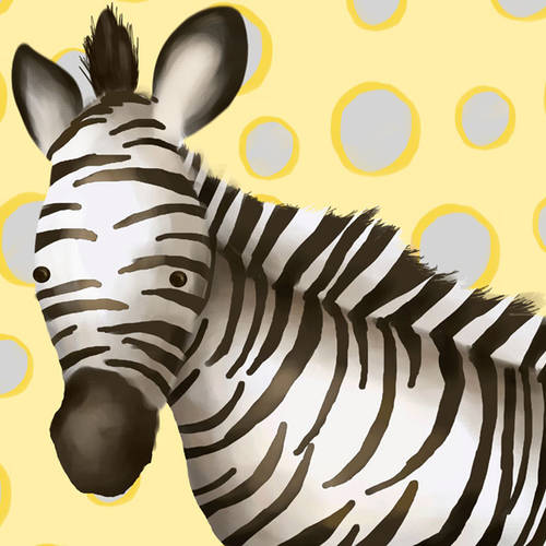 Oopsy Daisy's Zoey the Zebra Yellow & Grey Canvas Wall Art, 10x10