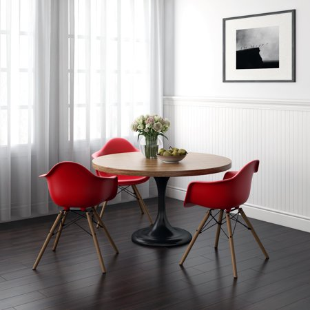 RealRooms Bristol Mid Century Modern Molded Arm Chair with Wood Leg, Red ()