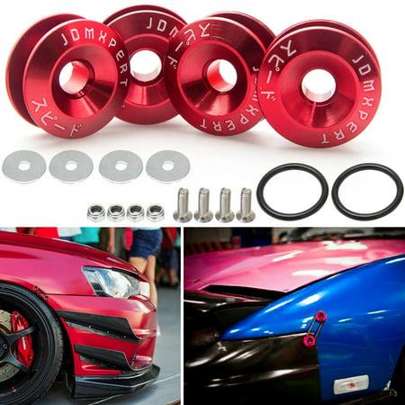 Chrome Trunk Lid Trim (Xotic Tech 1 Set JDM Quick Release Fasteners For Car Bumpers Trunk Fender Hatch Lids Red Color )