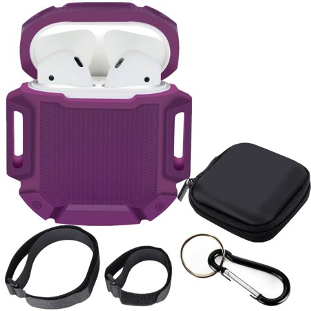 b9779806663 Moretek AirPods Case Shock-proof Protective Silicone Cover Water Resistant  Carrying Case with Keychain for Apple Airpods Charging Case(Purple)