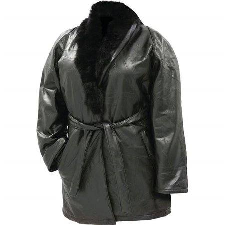 Ariell GFLRABJL Design Genuine Lambskin Leather Ladies Coat with Genuine Rabbit Synthetic Fur Collar - Large - image 1 of 1