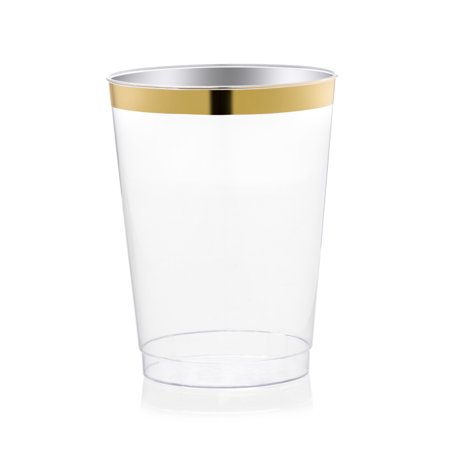 Host & Porter Gold Rim Plastic Cups, 10oz, 25 Count