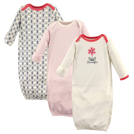 Touched by Nature Hudson baby newborn baby girls' organic gowns 3-pack