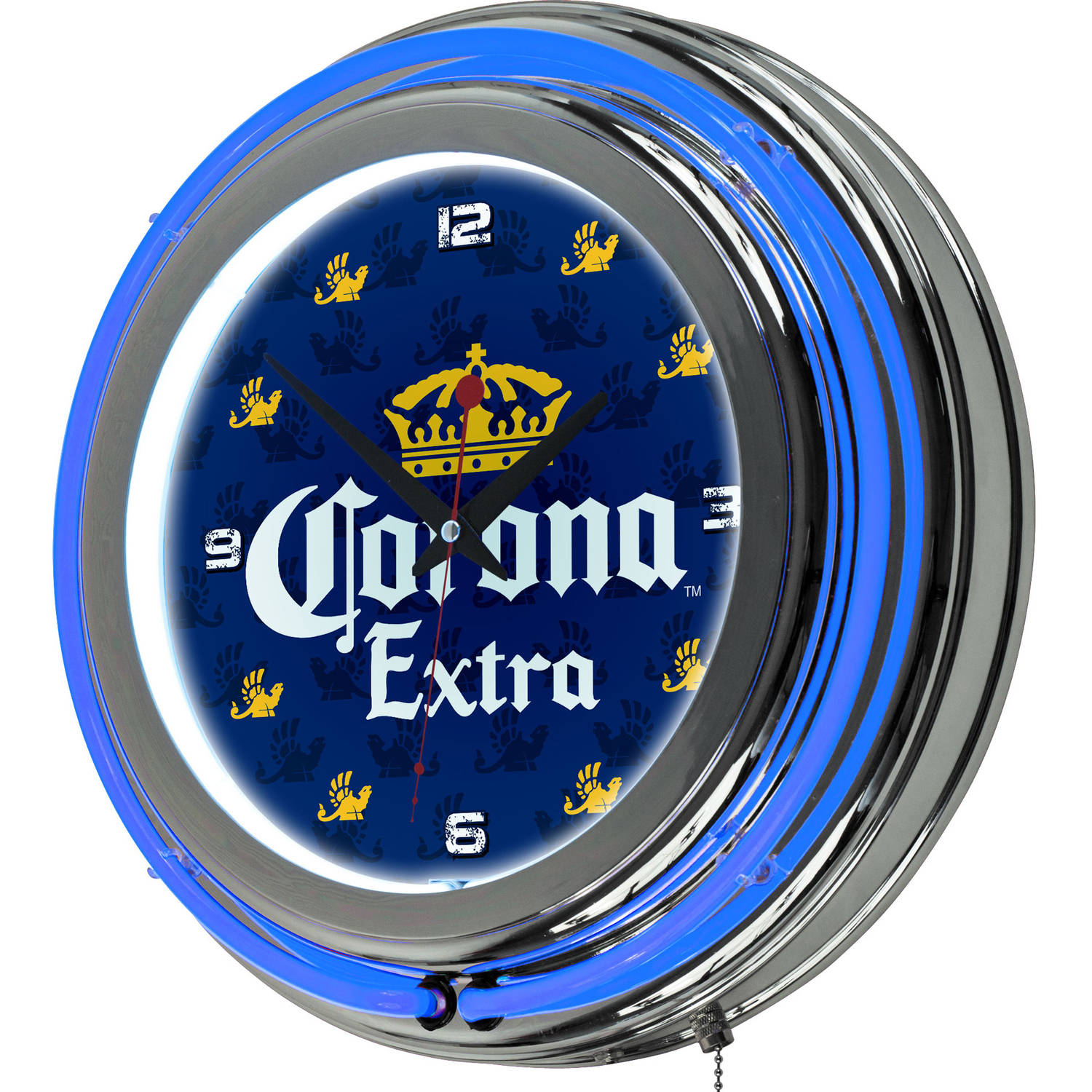 Trademark Global LLC Corona Chrome Double Rung Neon Clock, Griffin