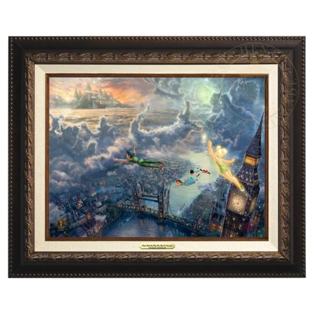 Thomas Kinkade Tinker Bell and Peter Pan Fly to Neverland - Canvas Classic (Aged Bronze Frame) (Tinkerbell And Peter Pan)