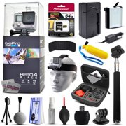 GoPro Hero 4 HERO4 Black CHDHX-401 with 64GB Ultra Memory + Premium Case + Extra Battery + Travel Charger + Selfie Stick + Head Strap + Floaty Bobber + MicroSD Card Reader + Cleaning Kit + More