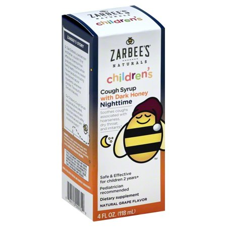 Zarbee's Naturals Children's Cough Syrup with Dark Honey Nighttime, Natural Grape Flavor, 4 Fl. Ounces (1 Box) Childrens Formula Cough Syrup