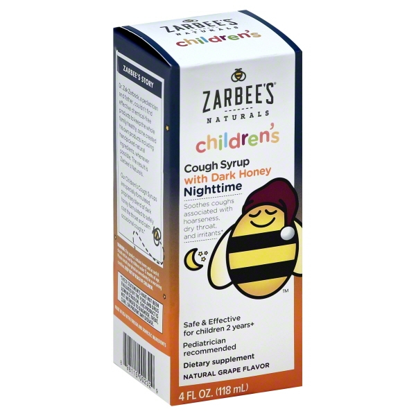 Zarbee's Naturals Children's Cough Syrup with Dark Honey Nighttime, Natural Grape Flavor, 4 Fl. Ounces (1 Box)