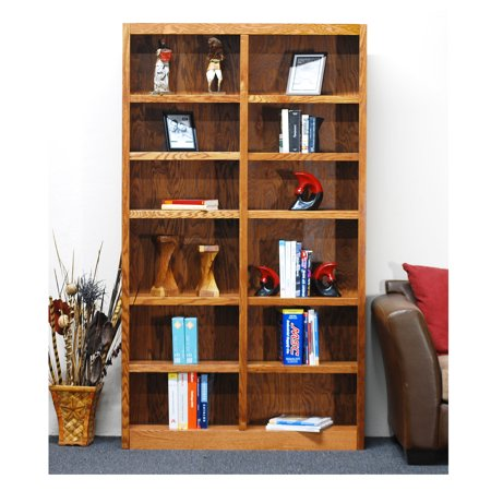 12 shelf double wide wood bookcase 84 inch tall oak finish. Black Bedroom Furniture Sets. Home Design Ideas