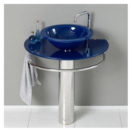 Kokols Glass 35 Pedestal Bathroom Sink With Faucet
