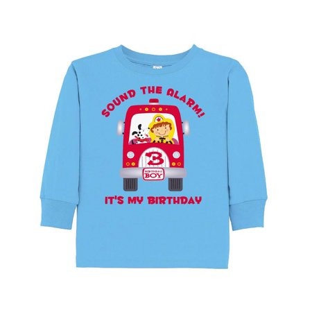 Fire Truck 3rd Birthday Boy Toddler Long Sleeve T Shirt