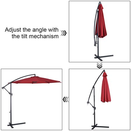 10' Hanging Umbrella Patio Sun Shade Offset Market W/ T Cross Base Burgundy - image 8 of 10