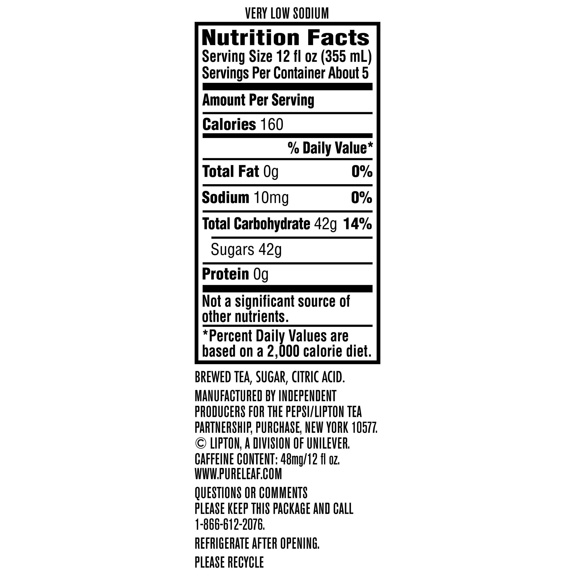 Pure Leaf Sweet Tea Nutrition Label