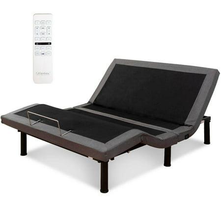 Adjustable Wide Base (Costway Adjustable Massage Bed Base Upholstered Wireless Remote USB Ports Twin XL )