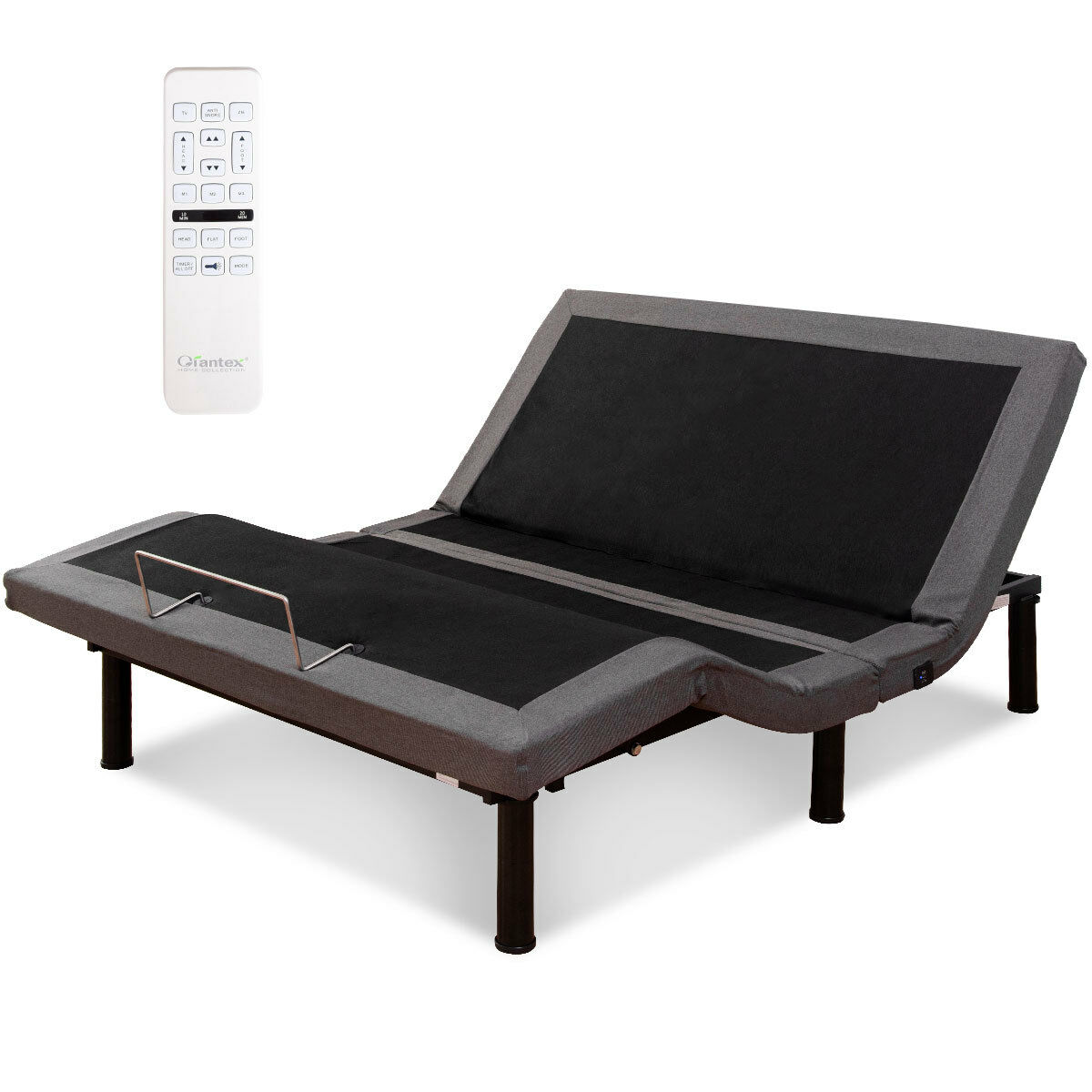 Costway Adjustable Massage Bed Base Upholstered Wireless Remote USB Ports Twin XL