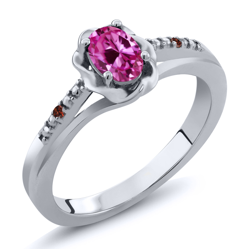 0.52 Ct Oval Pink Created Sapphire Red Garnet 18K White Gold Ring by