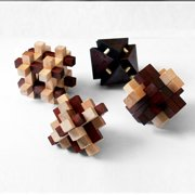 Zummy Brain Teaser 3D Wooden Puzzle Pack (4 Puzzles)