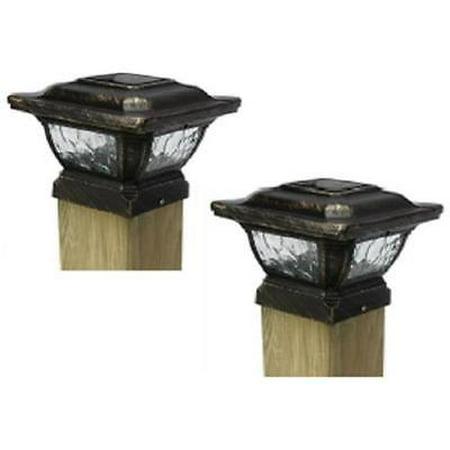 Four Seasons Courtyard Cast Metal Solar Post Cap Light 5 Lumens ()