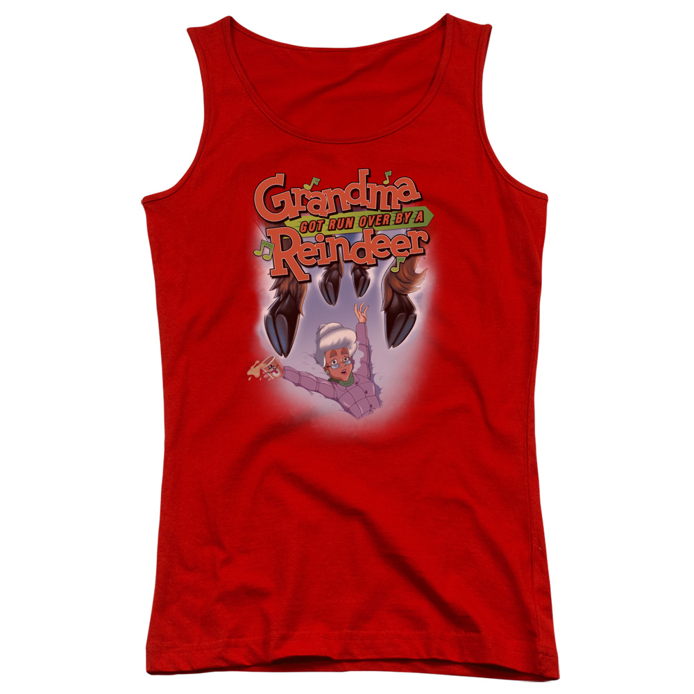 Grandma Got Run Over By A Reindeer Hooves Juniors Tank Top Shirt
