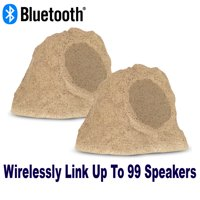 "Theater Solutions B62S Fully Wireless 200 Watt Rechargeable Battery Bluetooth 6.5"" Rock Speaker Pair Sandstone Link Up To 99 Speakers Wirelessly"