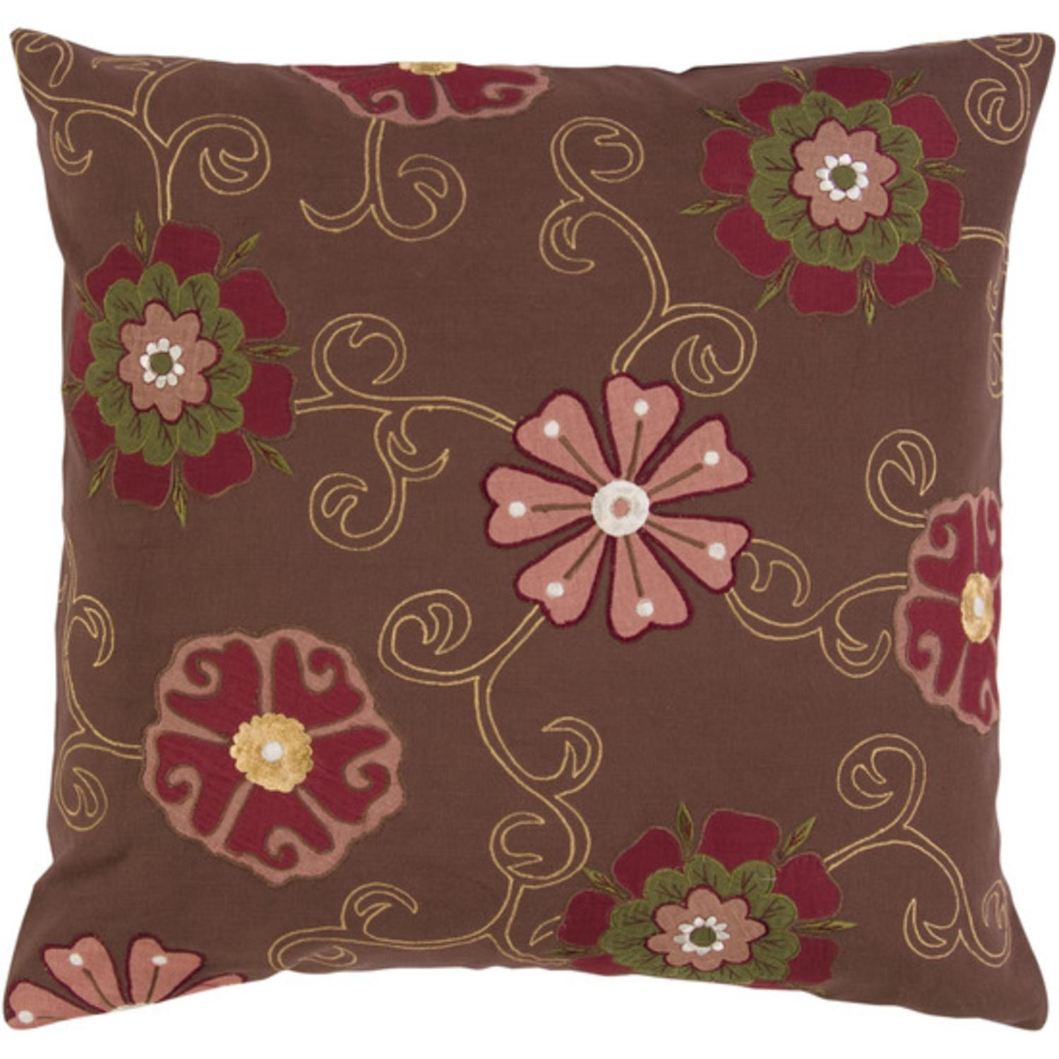 """18"""" Autumn Flower Chocolate Brown and Carmine Pink Decorative Down Throw Pillow"""