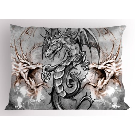Gothic Tattoos (Dragon Pillow Sham Scary Creature in Sketch Stylized Horror Scene Monster Tattoo Art Gothic Picture, Decorative Standard Queen Size Printed Pillowcase, 30 X 20 Inches, Grey Umber, by)