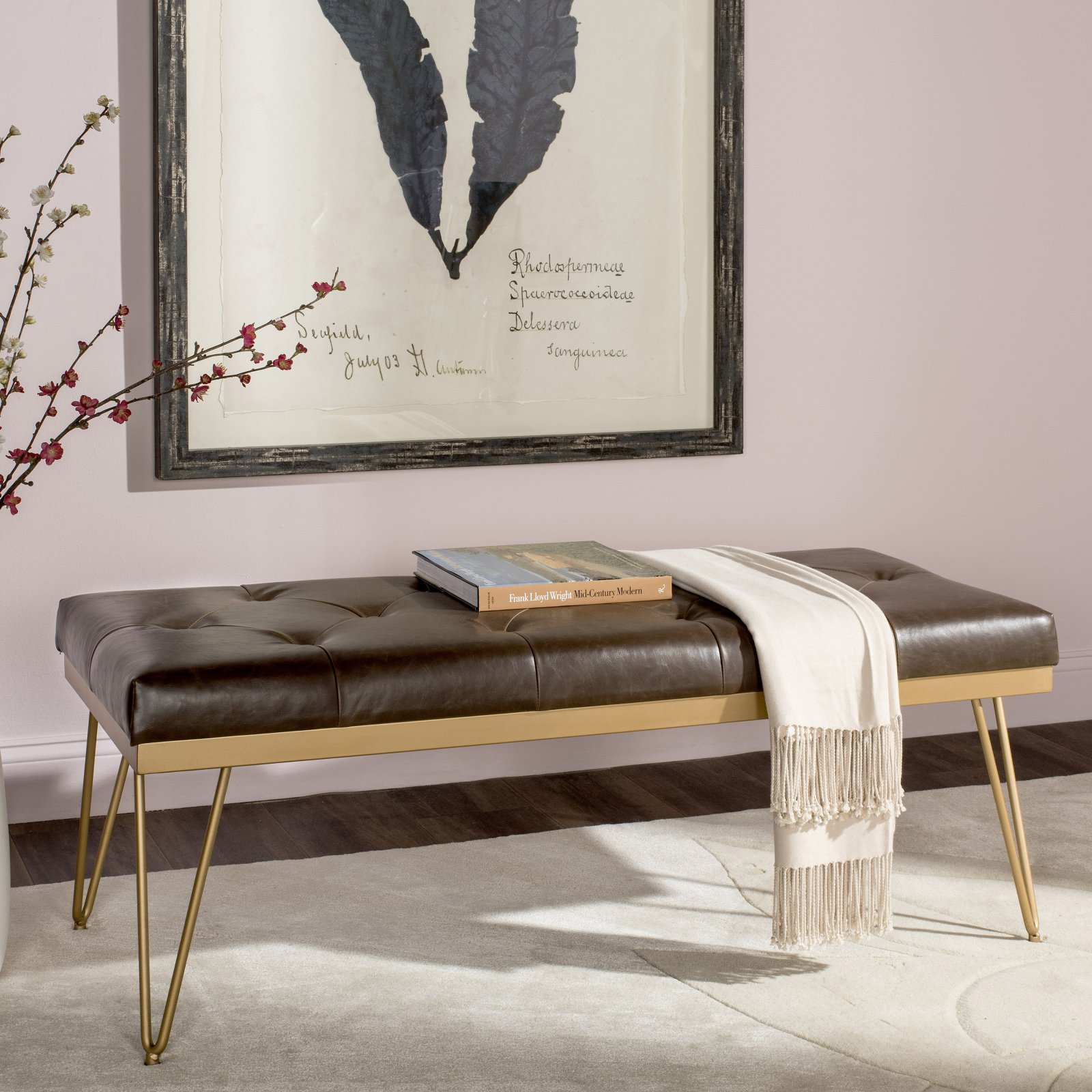 Marcella At Town Center: Safavieh Marcella Contemporary Mid-Century Tufted Bench