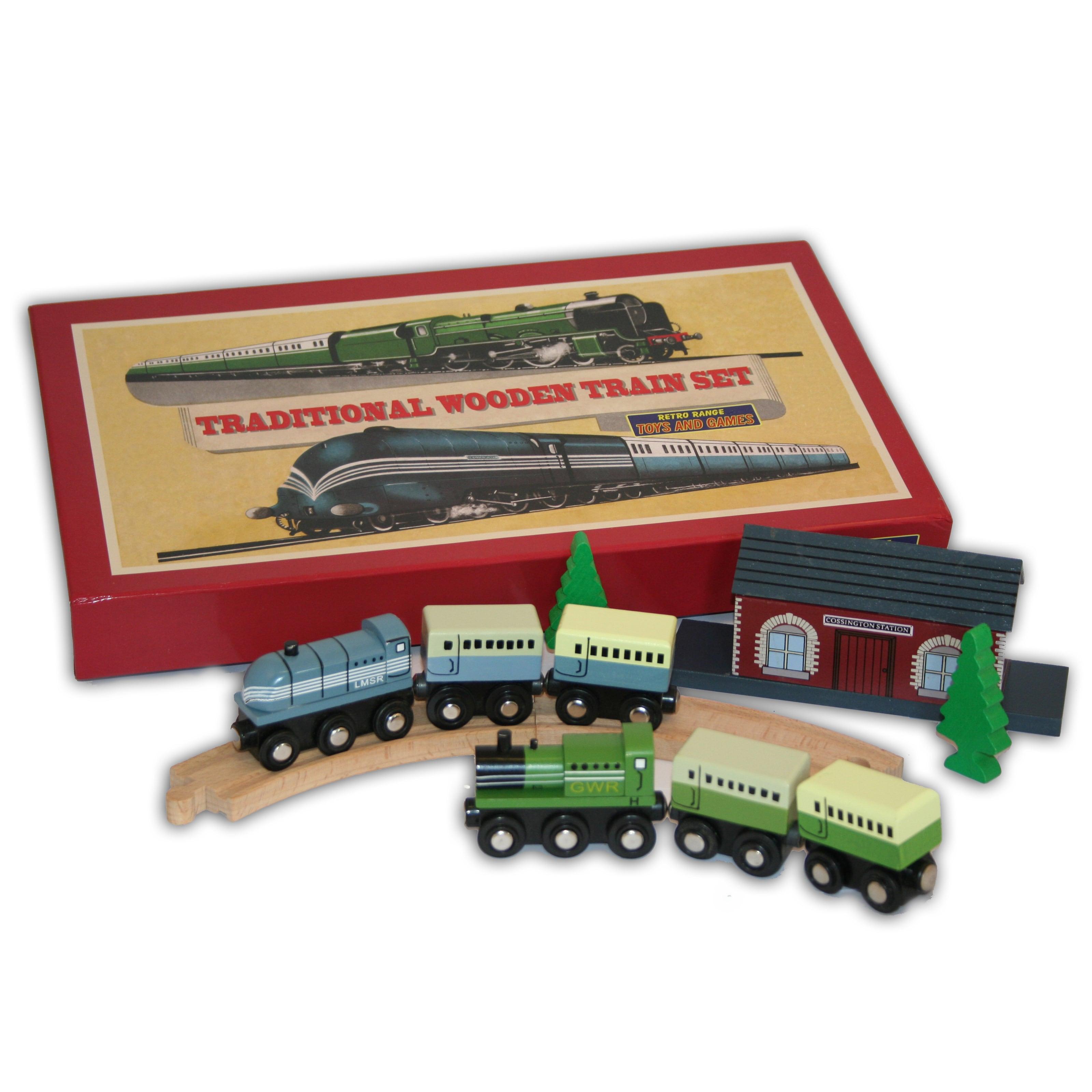 Traditional Wooden Train Set by Perisphere & Trylon