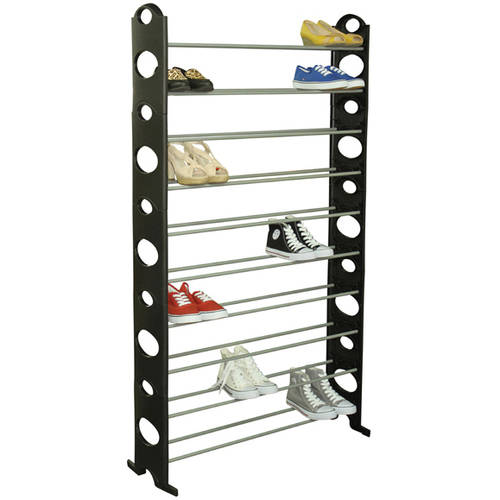 Sunbeam Shoe Rack, 50 Pair, Black