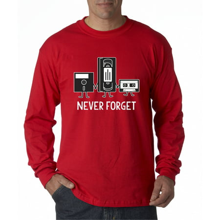 New Way 467 - Unisex Long-Sleeve T-Shirt Floppy Disk VHS Tape Cassette Player Never Forget