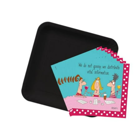 Bunco Napkins & Black Plates Set-